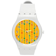 Yellow, Green And Red Pattern Round Plastic Sport Watch (m) by Valentinaart