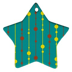 Green, Yellow And Red Pattern Ornament (star)  by Valentinaart