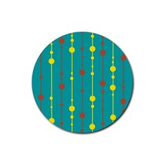 Green, Yellow And Red Pattern Rubber Coaster (round)  by Valentinaart
