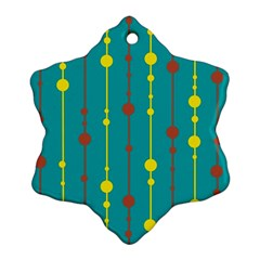 Green, Yellow And Red Pattern Snowflake Ornament (2 Side) by Valentinaart