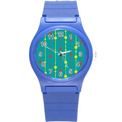 Green, Yellow And Red Pattern Round Plastic Sport Watch (s) by Valentinaart