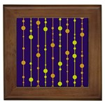 Deep blue, orange and yellow pattern Framed Tiles Front