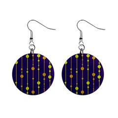 Deep Blue, Orange And Yellow Pattern Mini Button Earrings