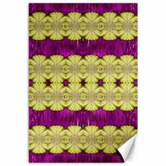 Purple Gold Floral And Paradise Bloom Canvas 12  X 18   by pepitasart