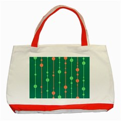 Green Pattern Classic Tote Bag (red) by Valentinaart