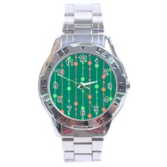 Green Pattern Stainless Steel Analogue Watch by Valentinaart
