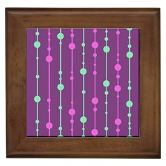 Purple And Green Pattern Framed Tiles by Valentinaart