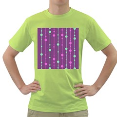 Purple And Green Pattern Green T Shirt by Valentinaart