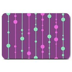 Purple And Green Pattern Large Doormat  by Valentinaart