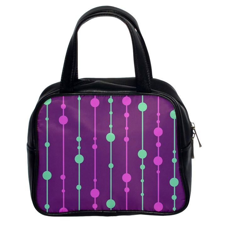 Purple and green pattern Classic Handbags (2 Sides)
