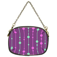 Purple And Green Pattern Chain Purses (one Side)  by Valentinaart