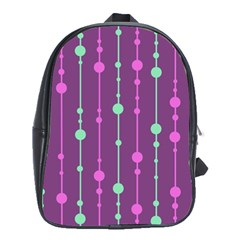 Purple And Green Pattern School Bags (xl)