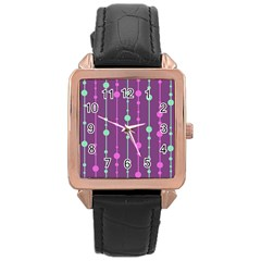 Purple And Green Pattern Rose Gold Leather Watch  by Valentinaart