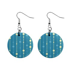Blue Pattern Mini Button Earrings by Valentinaart