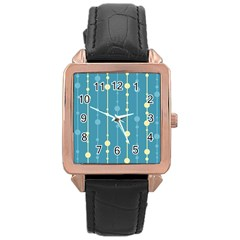 Blue Pattern Rose Gold Leather Watch  by Valentinaart