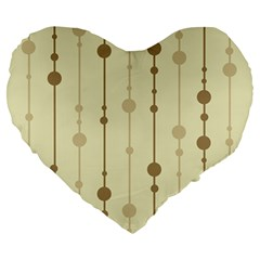 Brown Pattern Large 19  Premium Flano Heart Shape Cushions by Valentinaart