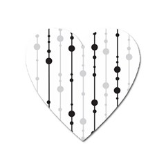Black And White Elegant Pattern Heart Magnet by Valentinaart