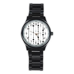 Black And White Elegant Pattern Stainless Steel Round Watch by Valentinaart