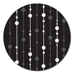 Black And White Pattern Magnet 5  (round) by Valentinaart