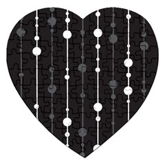 Black And White Pattern Jigsaw Puzzle (heart) by Valentinaart
