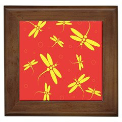 Red And Yellow Dragonflies Pattern Framed Tiles by Valentinaart