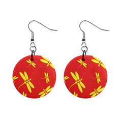 Red And Yellow Dragonflies Pattern Mini Button Earrings