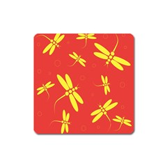 Red And Yellow Dragonflies Pattern Square Magnet by Valentinaart