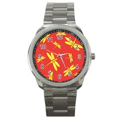 Red And Yellow Dragonflies Pattern Sport Metal Watch by Valentinaart