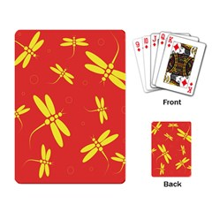 Red And Yellow Dragonflies Pattern Playing Card by Valentinaart