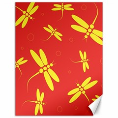 Red And Yellow Dragonflies Pattern Canvas 12  X 16   by Valentinaart