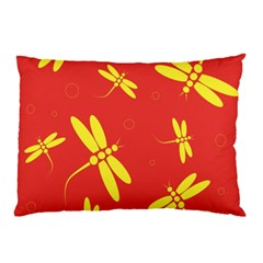 Red And Yellow Dragonflies Pattern Pillow Case by Valentinaart