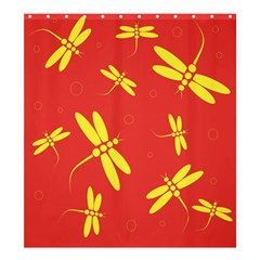 Red And Yellow Dragonflies Pattern Shower Curtain 66  X 72  (large)  by Valentinaart