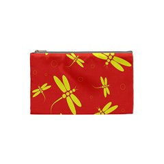 Red And Yellow Dragonflies Pattern Cosmetic Bag (small)  by Valentinaart