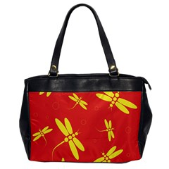 Red And Yellow Dragonflies Pattern Office Handbags by Valentinaart