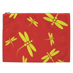 Red And Yellow Dragonflies Pattern Cosmetic Bag (xxl)  by Valentinaart