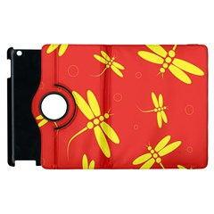 Red And Yellow Dragonflies Pattern Apple Ipad 2 Flip 360 Case by Valentinaart