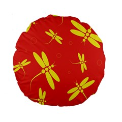 Red And Yellow Dragonflies Pattern Standard 15  Premium Round Cushions by Valentinaart