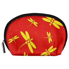 Red And Yellow Dragonflies Pattern Accessory Pouches (large)  by Valentinaart