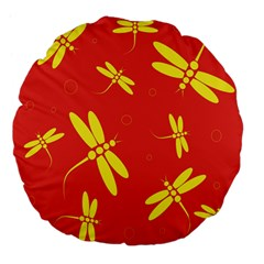 Red And Yellow Dragonflies Pattern Large 18  Premium Flano Round Cushions by Valentinaart