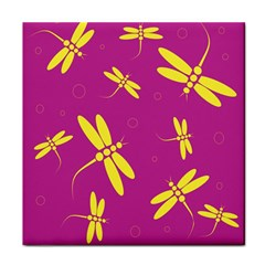 Purple And Yellow Dragonflies Pattern Tile Coasters by Valentinaart