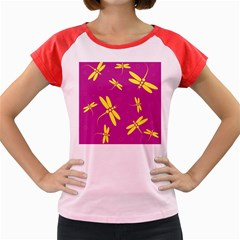 Purple And Yellow Dragonflies Pattern Women s Cap Sleeve T Shirt by Valentinaart