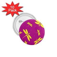 Purple And Yellow Dragonflies Pattern 1 75  Buttons (10 Pack) by Valentinaart