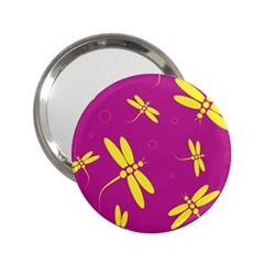 Purple And Yellow Dragonflies Pattern 2 25  Handbag Mirrors by Valentinaart