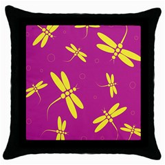 Purple And Yellow Dragonflies Pattern Throw Pillow Case (black) by Valentinaart