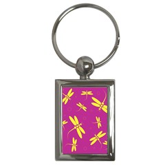 Purple And Yellow Dragonflies Pattern Key Chains (rectangle)