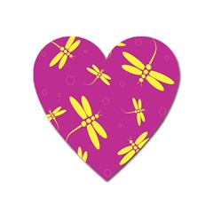 Purple And Yellow Dragonflies Pattern Heart Magnet by Valentinaart
