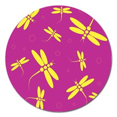 Purple And Yellow Dragonflies Pattern Magnet 5  (round) by Valentinaart