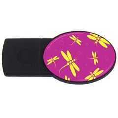 Purple And Yellow Dragonflies Pattern Usb Flash Drive Oval (2 Gb)  by Valentinaart