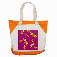 Purple And Yellow Dragonflies Pattern Accent Tote Bag by Valentinaart