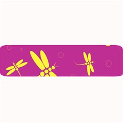 Purple And Yellow Dragonflies Pattern Large Bar Mats by Valentinaart